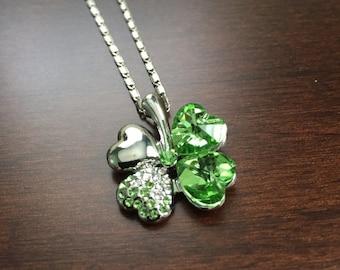 Four Leaf Clover Necklace, Four Leaf Clover, Four Leaf Clover Jewelry, Crystal Necklace, Green Necklace, Irish Necklace,  Silver Necklace