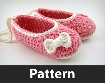 Crochet Pattern - Baby Ballet Flats and Mini Crochet Bows