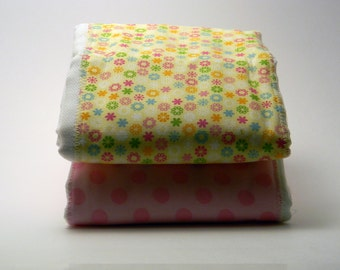 Set of Two Pink and Yellow Burp Cloths