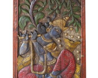 Hand Carved Door Panel Vintage Krishna Fluting Wish Fulfilling Tree Wall Sculpture, Meditation Decor