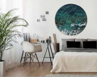 Awesome Gemma   Aerial View Of Rocky Beach | Minimalist Round Wall Art |  Scandinavian Style Home Decor