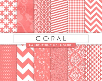 Coral Digital Paper Pack Digital coral paper digital paper coral Instant Download for Personal and Commercial Use