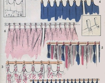 ON SALE Vintage 1950's Cafe Curtains Decorator Sewing Pattern Advance 7603 Six Choices Easy Pattern UNCUT