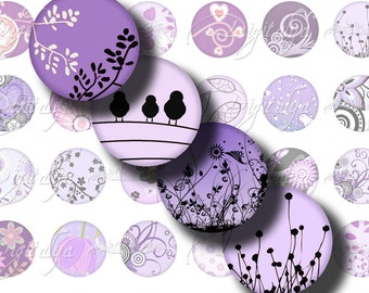 Shades of Purple (3) Digital Collage Sheet - Modern Designs with dominant purple - 48 Circles 1inch - 25mm or smaller - See Promo Offer