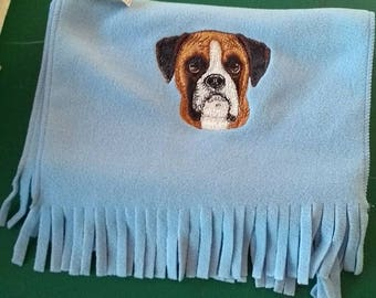 Embroidered Boxer Soft Fleece Scarf