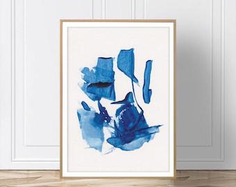 Blue Abstract Print, Blue Wall Art, Printable Art, Blue Print, Minimalist Art, Wall Art, Artwork, Prints, Digital Download, Blue Art, Art