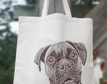 Boxer Tote Bag, Boxer Dog Gifts, Shopping Bag, Cotton Tote Bag