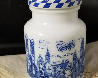 Muchen Hengstenberg Mustard Jar made in Germany. Blue and White Mustard Jar with Checkered Lid.