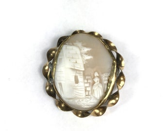 Rebecca at the Well Vintage Cameo Brooch