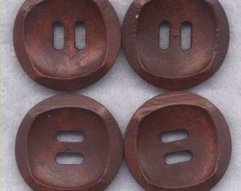 Chocolate Brown Buttons Simple Classic Wooden Buttons 24mm (1 inch) Set of 8 /BT391