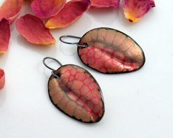 Pink Enameled Dangle Earrings, One of a Kind Patterned Handmade Leaf Earrings, Pink and Gold Design, Original Art Jewelry, Copper Enamel Art