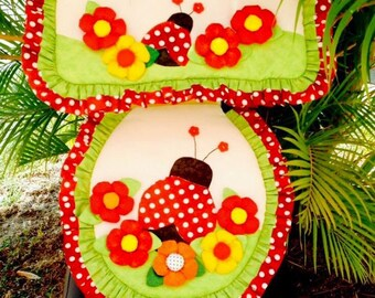 Lady Bug/Ladybug/Coquito/red/green Bath set