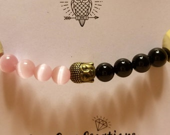 Black Onyx and Pink Cats Eye Buddha Diffuser Bracelet