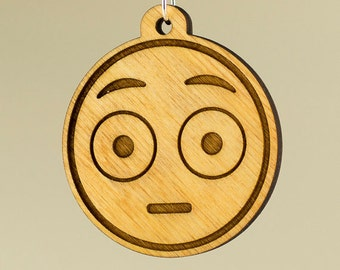 Embarrassed Emoji Wood Keychain - Flushed Face Emoji Carved Wood Key Ring - Blushing Face Emoji Wooden Engraved Charm