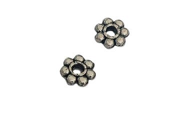 20 Flower Spacer Beads | Silver Flower Spacers | Flower Spacer | Flower Beads | Jewelry Findings Supplies | Ready to Ship | AS485-20