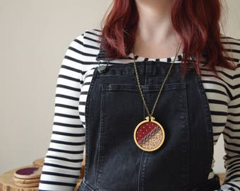 Embroidery Hoop Necklace, Geometric Necklace, Floral Necklace, Unique Gift for Her, Polka Dot Necklace, Wooden Necklace, Handmade Jewellery