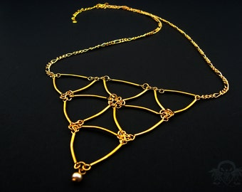 Trifecta II - Gold Curved Tube Bead Statement Necklace with Swarovski Glass Pearl