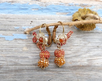 Fruits de la foret exquisite French handmade tiny Antique glass beads earrings