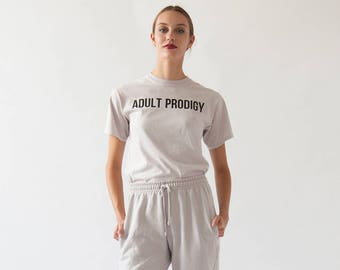 Adult Prodigy Tee   Funny Graphic T-shirt   Typography Font Lover   Millennial Humour