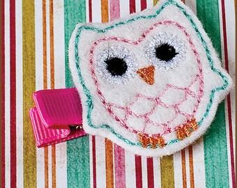 White Owl Felt Clip - Baby Hair Clip - Animal Hair Clippie - Felt Hair Clip