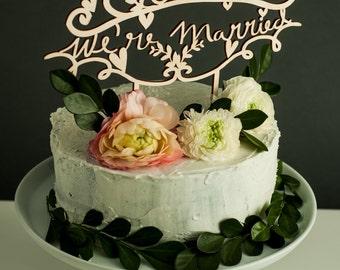 Cake Topper Wedding - OMG We're Married - Wedding Decor Wooden Cake Topper - Lasercut Birch Wedding Cake Topper