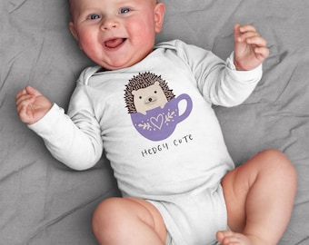 Hedgy Cute Hedgehog Baby Clothes Bodysuit Romper for Baby Boy Girl, Long or Short Sleeve, 3,6,9,12,18 Months, Hedgehog Baby Shower Gift