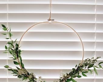 Dried Plant Asymmetrical Embroidery Hoop Wreath