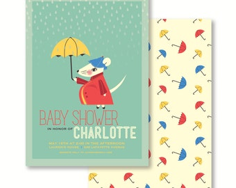 5X7 Baby shower invitation features rainy day theme with mommy mouse