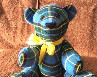 Doolish is a traditional handmade BELiEVE BEAR made from a cotton manx tartan material