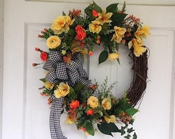 Summer Grapevine Yellow Ranunculus Orange Floral Rose and Buds Yellow Astro Door Decor Wreath