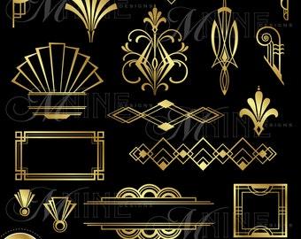 "ART DECO Clip Art: ""Gold Art Deco Accents"" Design Elements Digital Clipart, Instant Download, Vintage Accents Frame Borders"