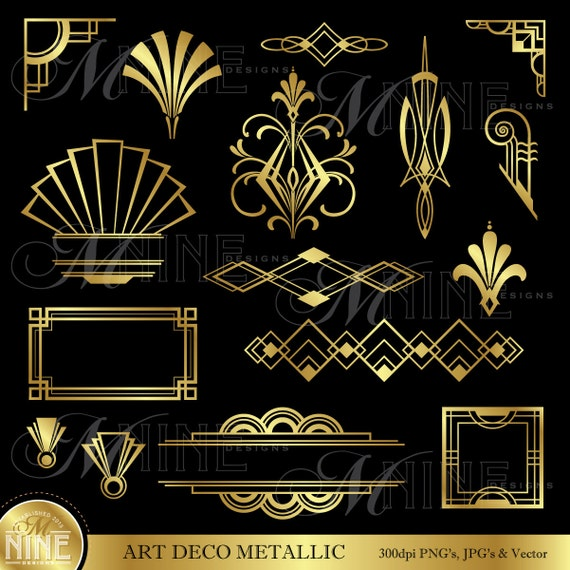 Art Deco Line Design : Art deco clip gold accents design