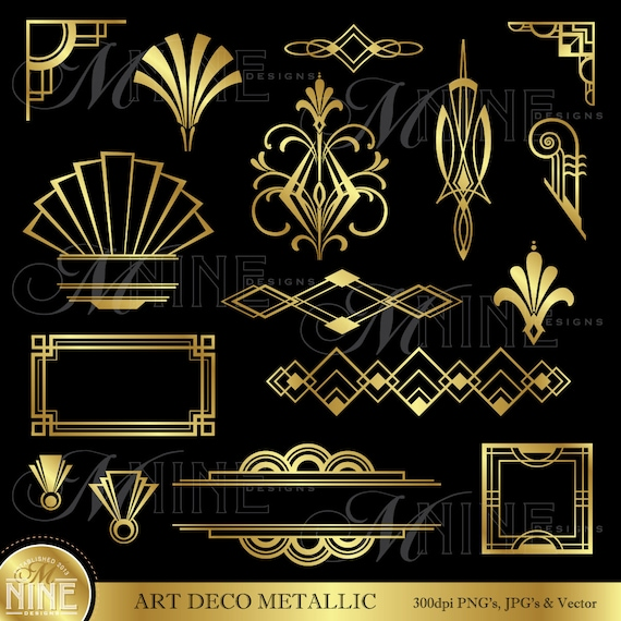 Art deco clip art gold art deco accents design for Art deco interior design elements
