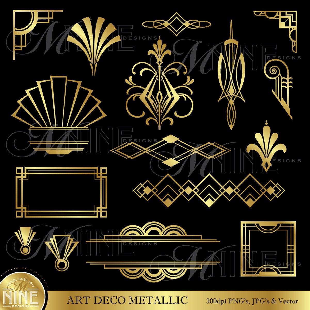 ART DECO Clip Art: Gold Art Deco Accents Design