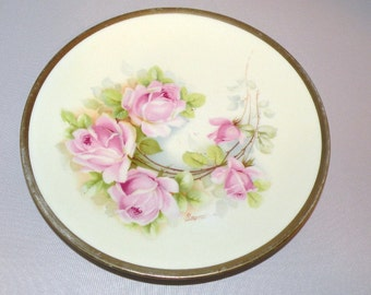 Old Royal Austria hand painted PINK ROSE Plate Signed Raymond Circa 1900