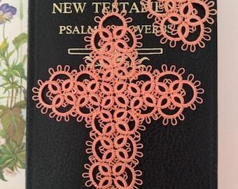 SALMON SUNSET Tatted Cross Bible Bookmark  with Tassel Tatting