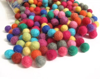 Felt Balls Color Mix - 50 Pure Wool Beads 10mm - Multicolor Shades