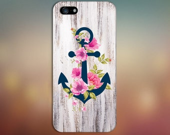 Navy Blue Anchor x Flowers  x Wood Design Case for iPhone 8 6 Plus iPhone X  Samsung Galaxy s9 edge s6 and Note 8  S8 Plus Phone Case