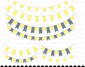 Yellow and Gray Banner clip art - ribbon clipart graphics, yellow and silver ribbon bunting scrapbook : c0248 3s1048
