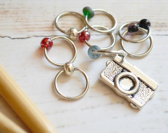 SALE!! Shutterbug / Knitting Stitch Marker Set / Snag Free / Small Medium Large Sizes Available