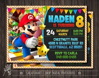 Super Mario Photo Invitation, Mario Invitation, Super Mario Birthday Party Invitation, Mario Bros Invitation, Luigi, Yoshi, Mario