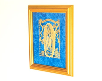 Santa Maria De Guadalupe Framed 22K Gold Finished Artwork Bible Gifts Religious Catholic Art Home Decor Available in Spanish