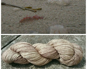 Hand Dyed Yarn, Ultra Soft Single Ply Merino Fingering Weight Tonal Yarn Perfect for Shawls and Other Special Accessories - Seawall Sand