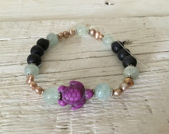 Aquamarine, Pearl and lavastone bracelet for Essential Oils