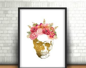 Gold Skull Print, Flower Skull Print, Gold Foil Skull, Skull Wall Decor, Gold Skull Decor, Printable Wall Art, Gallery Wall Print, Skull Art