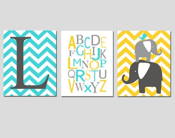 Nursery Art Trio- Chevron Monogram Initial, Modern Alphabet, Elephant Bird Stack - Set of Three 8x10 Prints - Choose Your Colors