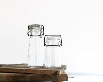 Set of Vintage Bail Jars with Glass Lids, Vintage Farmhouse Kitchen, Canning Supplies, Food Storage