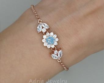 Bridesmaids Bracelet, Blue Crystal Bracelet, Rose Gold Bracelet, Swarovski Wedding Jewelry, Swarovski Rhinestone Bracelet, Wedding Bracelet
