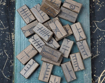 25 Stunning Irish Bog Oak Celtic Tree Ogham Tablets - Pagan, Druid, Druidry, Witchcraft, Divination, Handmade, staves, fews
