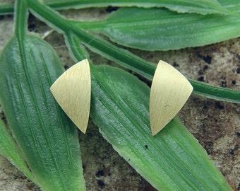Earrings gold 585 /-, triangle bar mat, hand work
